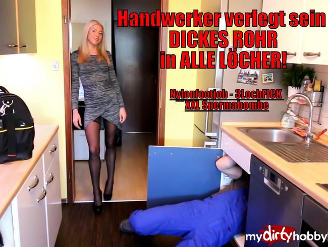 - Handwerker verlegt XXL Rohr in ALLE Löcher!