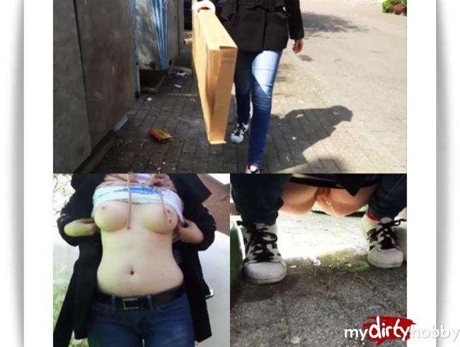- BLANKGEZOGEN beim MÜLLRAUSBRINGEN Teen PISSSssssst auf deine Straße!