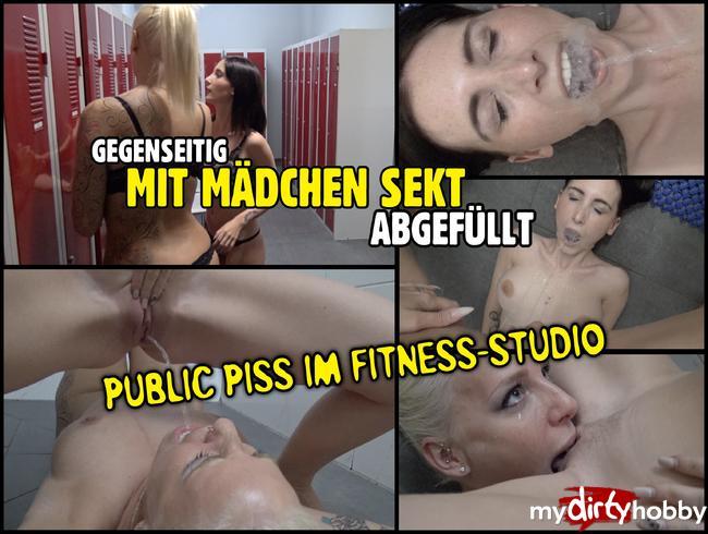 Lara-CumKitten - Gegenseitig mit Mädchen Sekt abgefüllt   PUBLIC PISS im Fitness-Studio